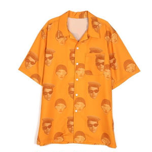 13MONTH FACE PRINTING ALOHA SHIRT ORANGE