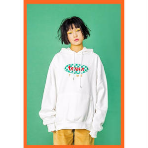 FEVERTIME  GREEN CHECKER HOODIE  WHITE
