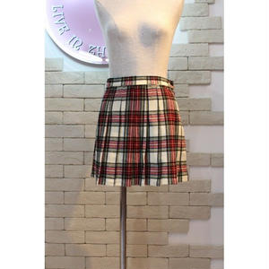 TARTAN CHECK MINI SKIRT WHITE/RED