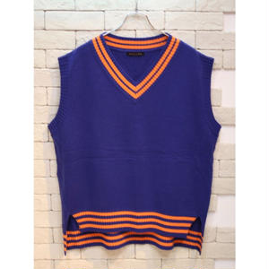 OVER SIZED V NECK KNIT VEST BLUE
