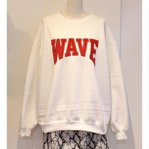 WAVE LOGO CREW NECK SWEAT WHITE