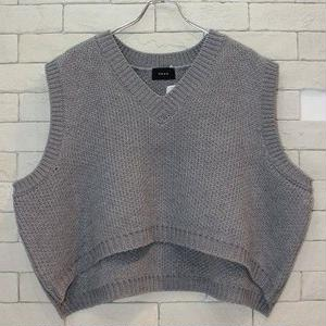 V NECK R KNIT VEST GREY