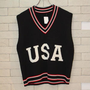 USA KNIT VEST BLACK