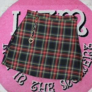 KEY RING CHECK SKIRT BLACK