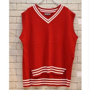 OVERSIZED V NECK KNIT VEST RED