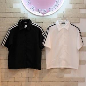 S/S SLEEVE LINE SHIRTS BLACK/WHITE