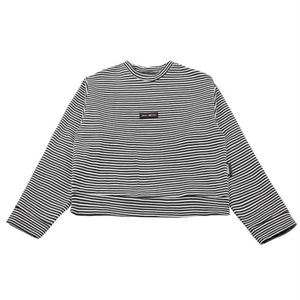 BASIC COTTON BASIC COLOR STRIPE SWEAT WHITE