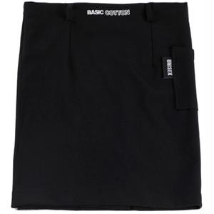BASIC COTTON SKIRT BELT SET BLACK