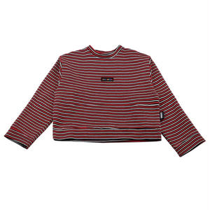 BASIC COTTON BASIC COLOR STRIPE SWEAT RED