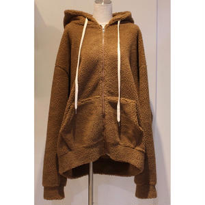 SHERPA ZIP SWEAT HOODIE BROWN