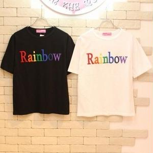 S/S RAINBOW TEE BLACK/WHITE