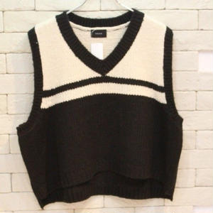 V NECK R KNIT VEST BLACK/IVORY