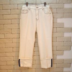 STITCH DENIM PANTS WHITE