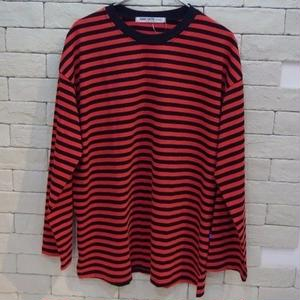 L/S BORDER TEE RED/BLK