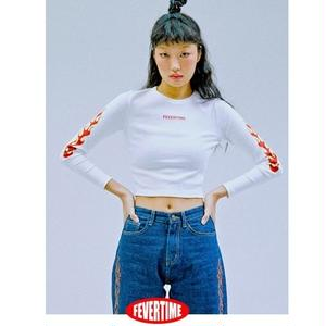 FEVERTIME FIRE CROP TEE WHITE