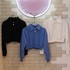 L/S CROPPED POLO SHIRTS BLACK/WHITE/BLUE