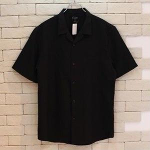 S/S OPEN COLLAR  SHIRTS  -UN- BLACK