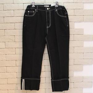 WHITE STITCH BLACK DENIM PANTS