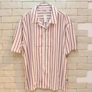S/S OPEN COLLAR STRIPE SHIRTS WHITE/RED
