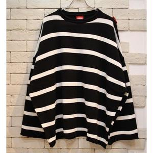 PARAGRAPH OVERSIZED BORDER KNIT BLACK