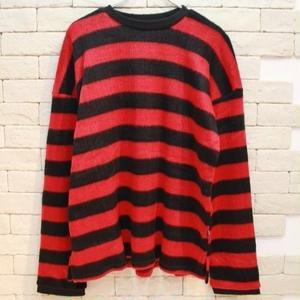 MOHAIR BORDER KNIT RED/BLACK