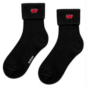 KIRSH CHERRY CUFF SOCKS BLACK