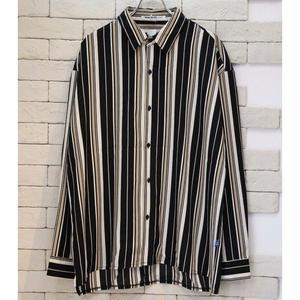 L/S  MIDDLE STRIPE SHIRTS BLK/BEIGE