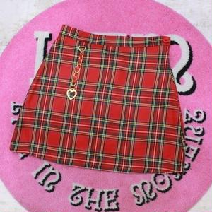 KEY RING CHECK SKIRT RED