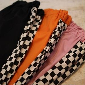 CHECKER LINE NYLON TRACK PANTS