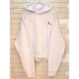 ROSE EMBROIDERY SWEAT HOODIE GRAY