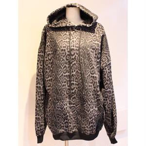 OVERSIZED LEOPARD SWEAT HOODIE BLACK