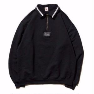 HELLRAZOR【 ヘルレイザー】Authentic Neck Lining Half Zip Sweater  - Black ハーフジップ スウェット