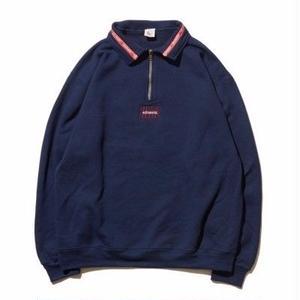再入荷!!! HELLRAZOR【 ヘルレイザー】Authentic Neck Lining Half Zip Sweater  - Navy ハーフジップ スウェット
