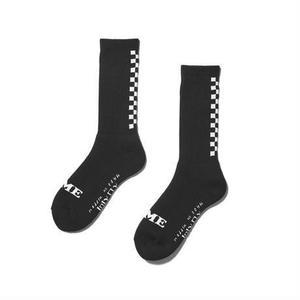 坩堝【 るつぼ】BACK CHECKER SOCKS (RUTSUBO×I&ME)チェッカー 靴下 ソックス ブラック
