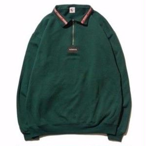 HELLRAZOR【 ヘルレイザー】Authentic Neck Lining Half Zip Sweater  - Hunter Green ハーフジップ スウェット