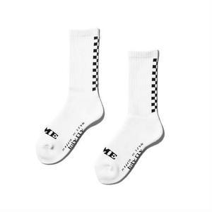坩堝【 るつぼ】BACK CHECKER SOCKS (RUTSUBO×I&ME)チェッカー 靴下 ソックス ホワイト