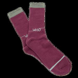 再入荷!!!WKND【 ウィークエンド】Line Logo Sock ソックス 靴下 バーガンディ