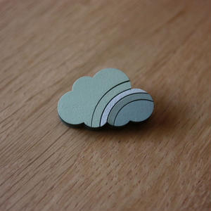 木製のかろやかな-モザイクブローチ- 虹・薄青×御召茶