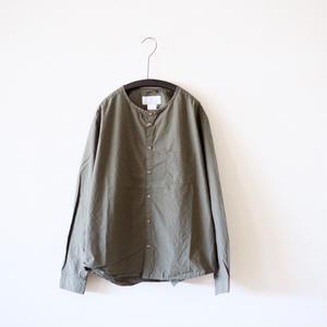 <Last 1>MUYA / Stand collar Nerd shirts - Greykhaki