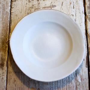 馬場勝文 / リム深皿(6.5寸) - 土マット