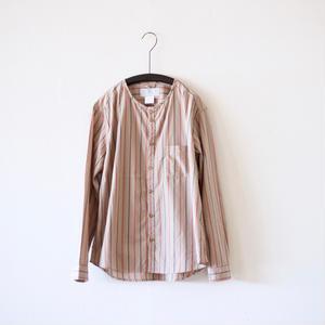 MUYA / Stand collar Nerd shirts - Brown stripe