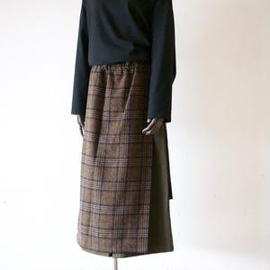 KaIKI / チェック前掛け ワイドキュロットパンツ - Brown check