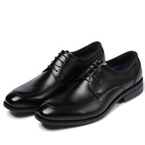 【Jo Marino】高品質 本革 メンズ ビジネス レザーシューズ 革靴 紳士靴 通気性 空気循環 消臭 衝撃吸収 幅広 軽量 7712-BLACK