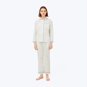 SLEEPY JONES // DLF Bishop Pajama Set White&Green Trees
