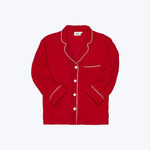 SLEEPY JONES // Silk Marina Pajama Shirt Red Carmeuse