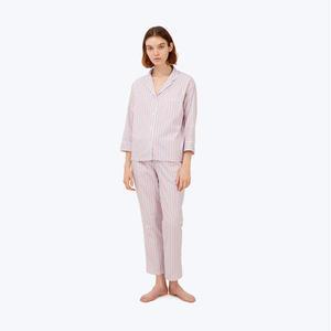 SLEEPY JONES // Marina Pajama Set White, Navy & Red Ticking Stripe