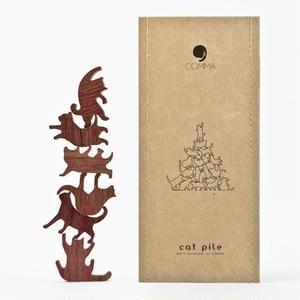 Cat Pile【グリーン】地味にはまる!大人のつみき 色んなポーズのネコジェンガ 全5種類(A73003)