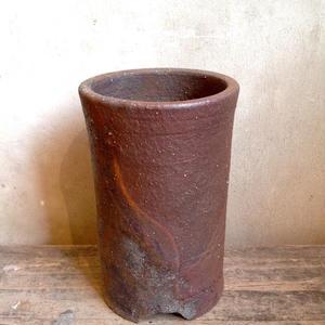 市野伝市鉢    登窯焼手作り筒型  3号鉢