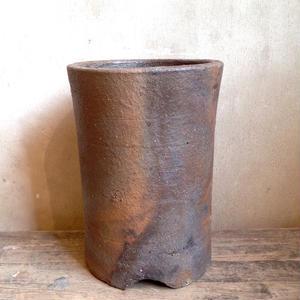 市野伝市鉢    登窯焼手作り筒型  3.5号鉢