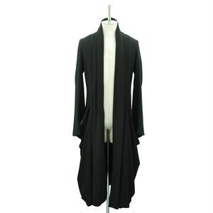 【Last1】Stole Collar Long Coat / Black